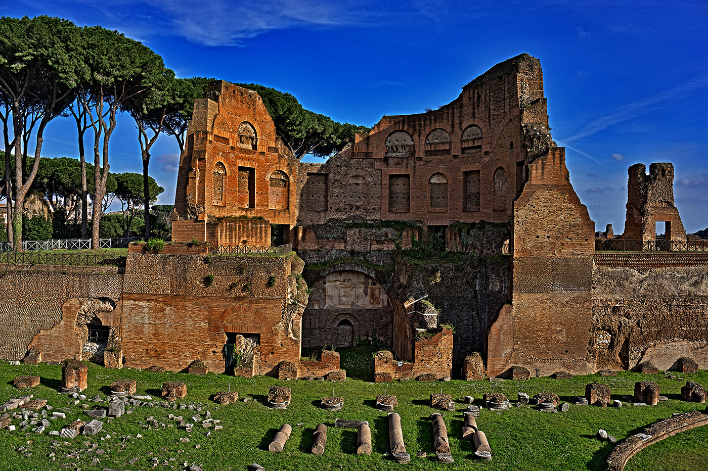 Ruins atop Palatine Hill in Rome, Italy