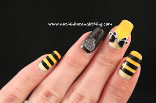 stripe polka dot ribbon yellow black white nails