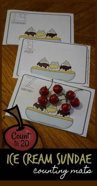 Practice counting to 20 with this FUN and FREE Ice Cream Sundae Count to 20 Activity for preschool, prek, and kindergarten FUN! Summer math activity kid will love! #summermath #preschool #kindergarten
