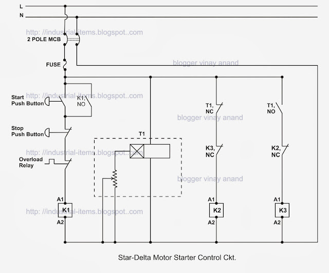 timer control circuit of star delta starter open transition