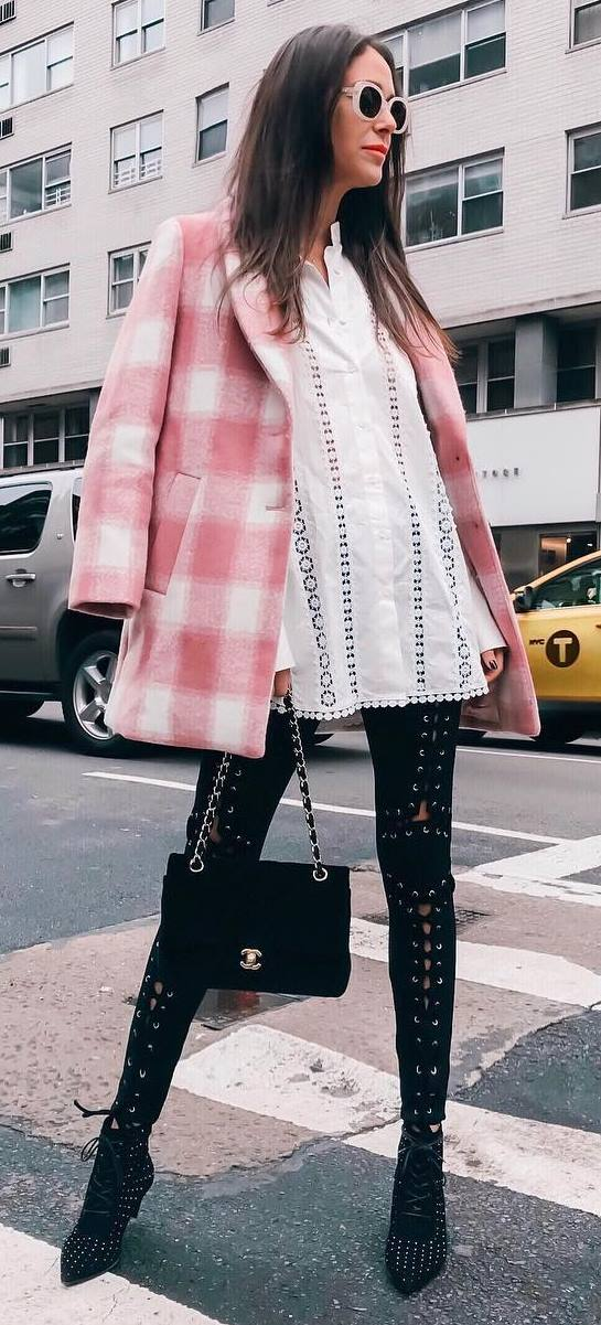 how to style a pink plaid coat : white top + bag + lace up black pants + boots