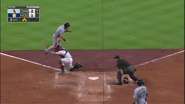 Adam Eaton's attempt to jump over the catcher