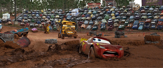 Cars 3 Miss Fritter bearing down on Lightning McQueen