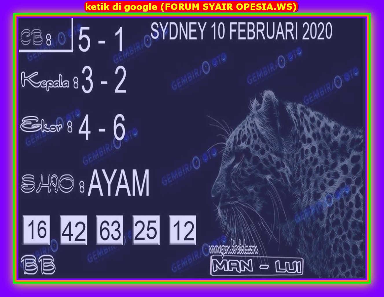 Kode syair Sydney Senin 10 Februari 2020 85