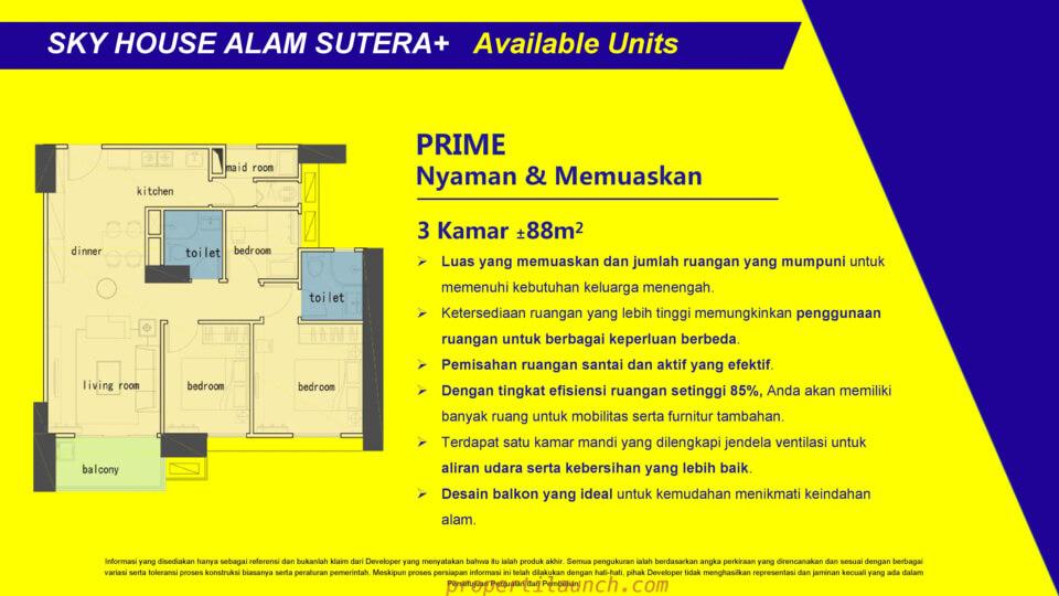 Tipe 3 BR Apartment Sky House Alam Sutera