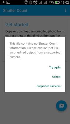 Komentar yang muncul saat Aplikasi Android Shutter Count tidak bisa digunakan