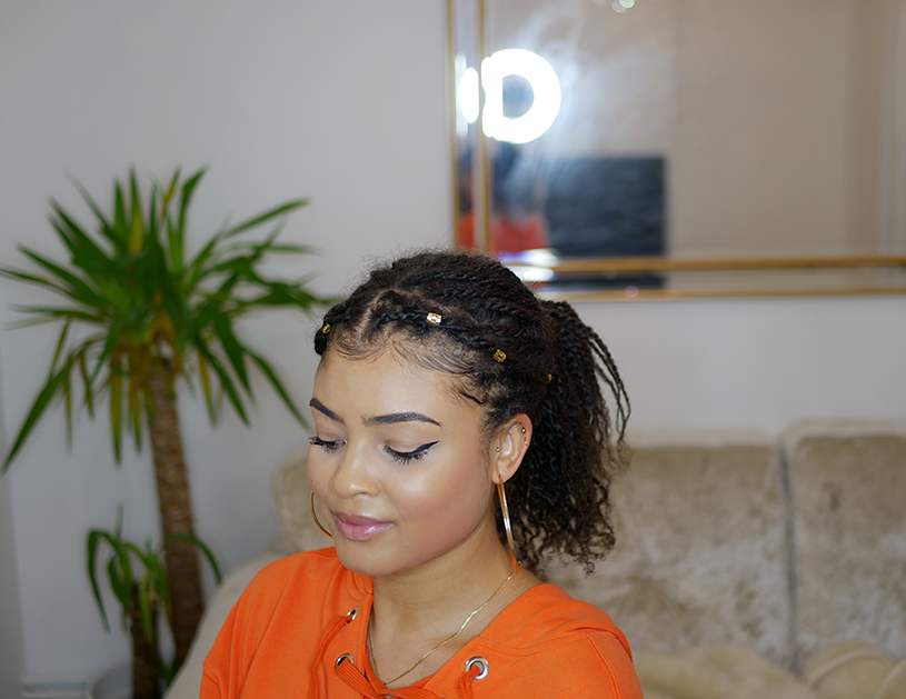Mini twist hair styles on natural 4a/4b hair- pony tail with gold cuffs