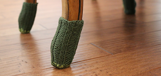 Knit Socks on Feet of Dining Room Chairs