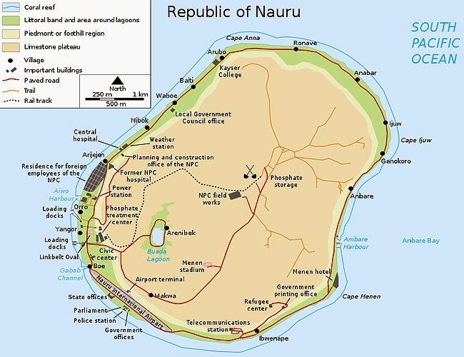 Map of Nauru Island 10 Most Beautiful Island Countries in the World