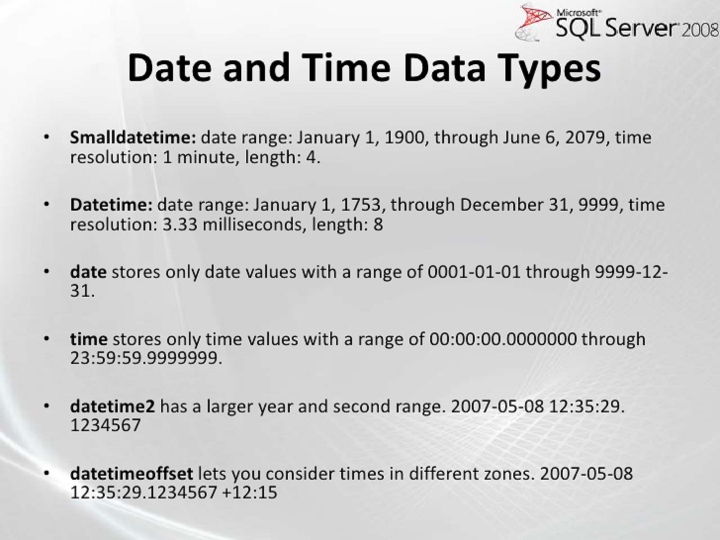 Chopping off the time in a DateTime field in SQL | David Frette's Blog