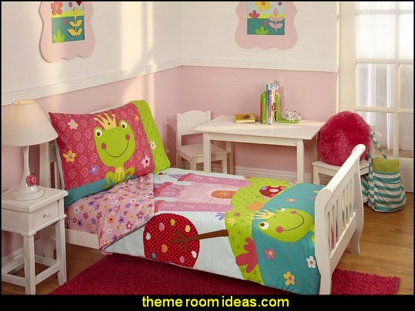 Fairytale Toddler Bedding Set  frog theme bedrooms - frog theme decor - frog themed gifts - froggy wallpaper murals - frog wall decals - frogs in a pond wall decor -  Frog Prince decor