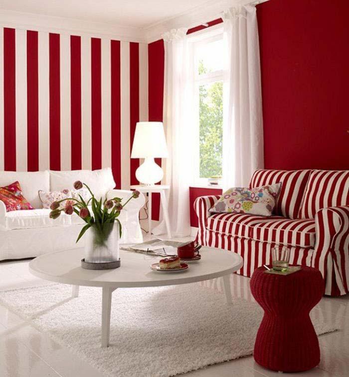 kırmızı beyaz oturma odası örnekleri