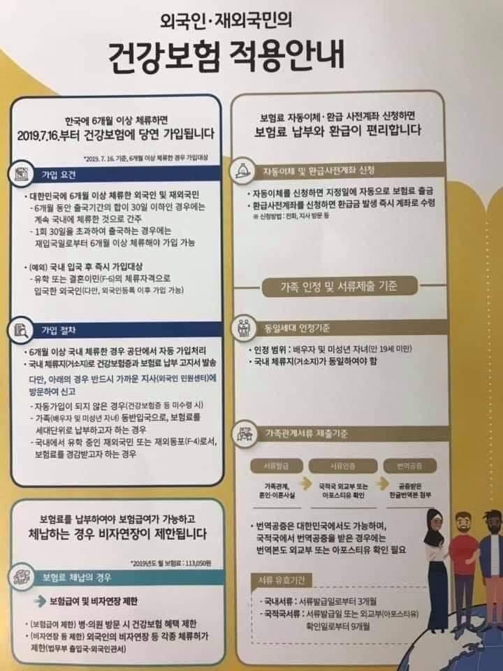 Kể từ 16/07/2019 người nước ngoài tại Hàn Quốc phải tham gia bảo hiểm
