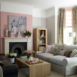sala de estar rosa y gris