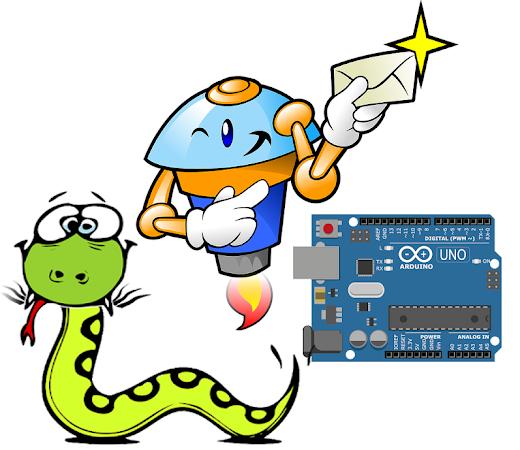 Cobra e uma placa Arduino UNO ao lado de um robô segurando uma carta