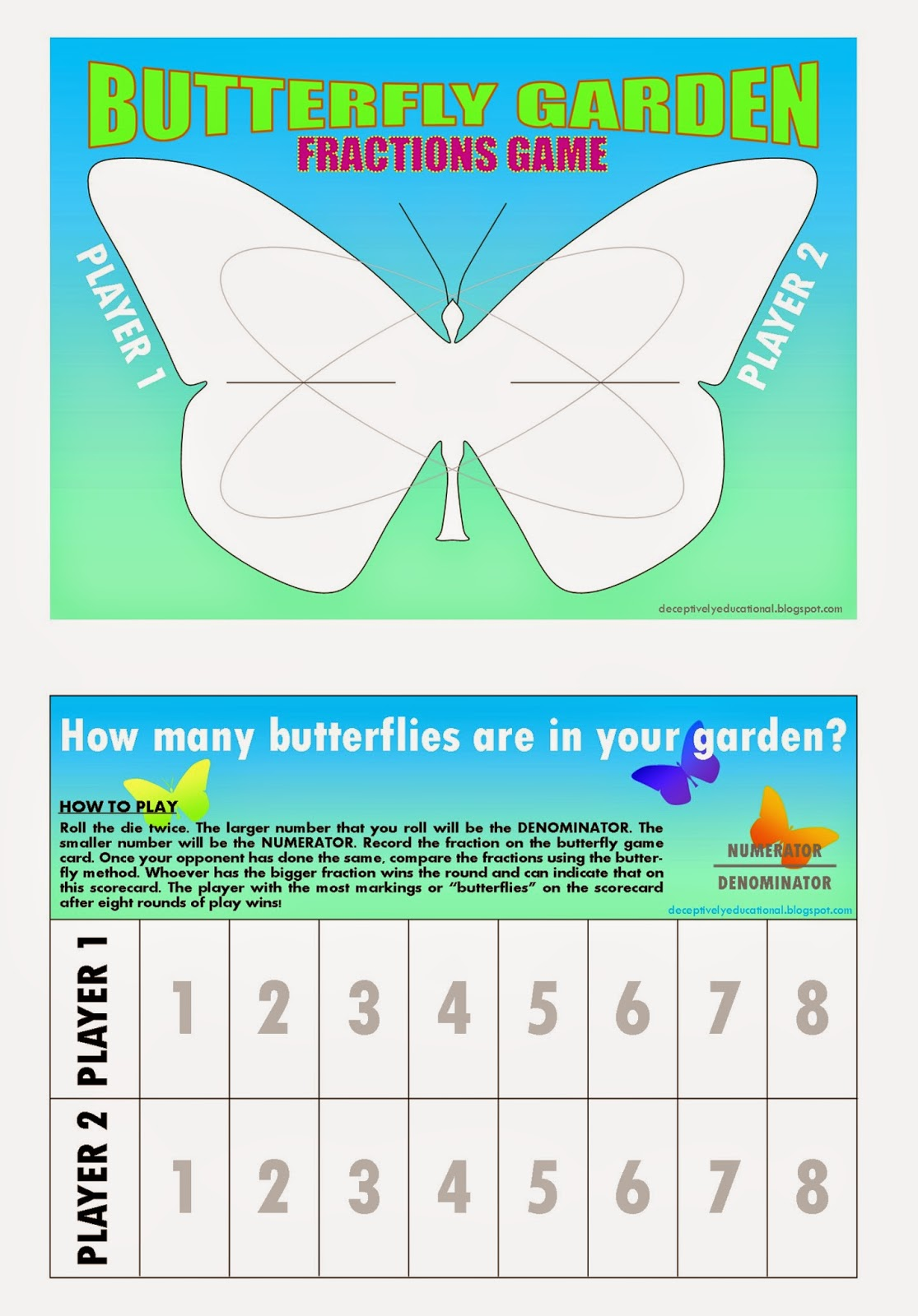 Relentlessly Fun Deceptively Educational Butterfly Garden A Comparing Fractions Game