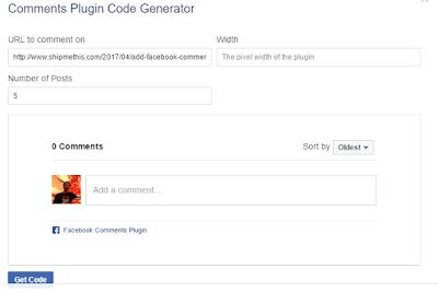 Comments plugin code generator facebook