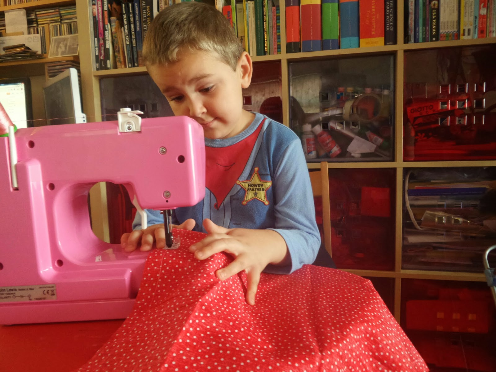Big Boy confused over the sewing machine