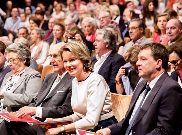 Queen Mathilde attended the first session of semi final of the Queen Elisabeth Cello Competition 2017 at the Brussels Flagey cultural center