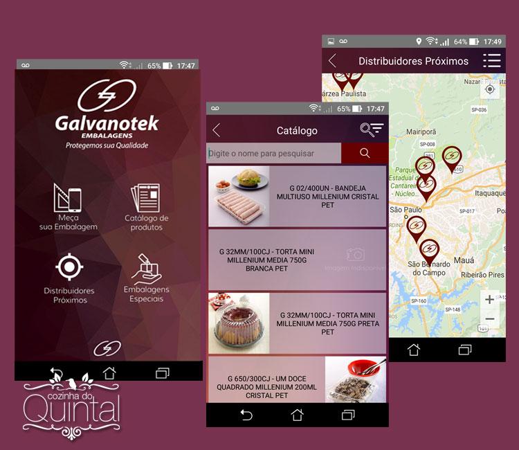 Com o novo app da Galvanotek fica fácil encontrar a embalagem certa! Na Cozinha do Quintal.