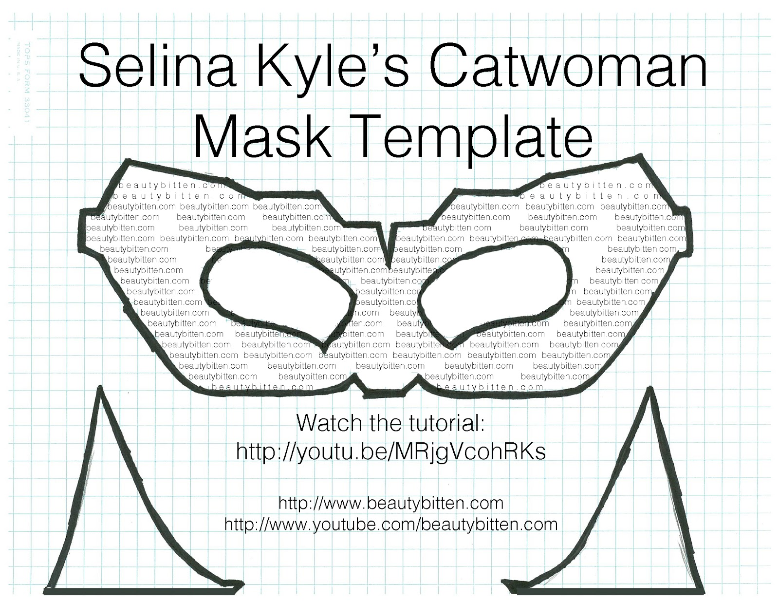 Headband - Mask template (right click on the image below click  Save Image As save it in your folder or desktop and print. Or try this to click on this ...  sc 1 st  beautybitten & Halloween DIY: Selina Kyle/Catwoman Costume (The Dark Knight Rises ...