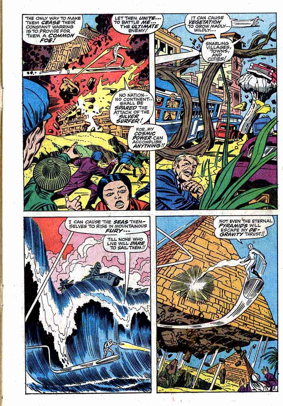 Fantastc Four v1 #72 silver surfer 1960s silver age comic book page art by Jack Kirby