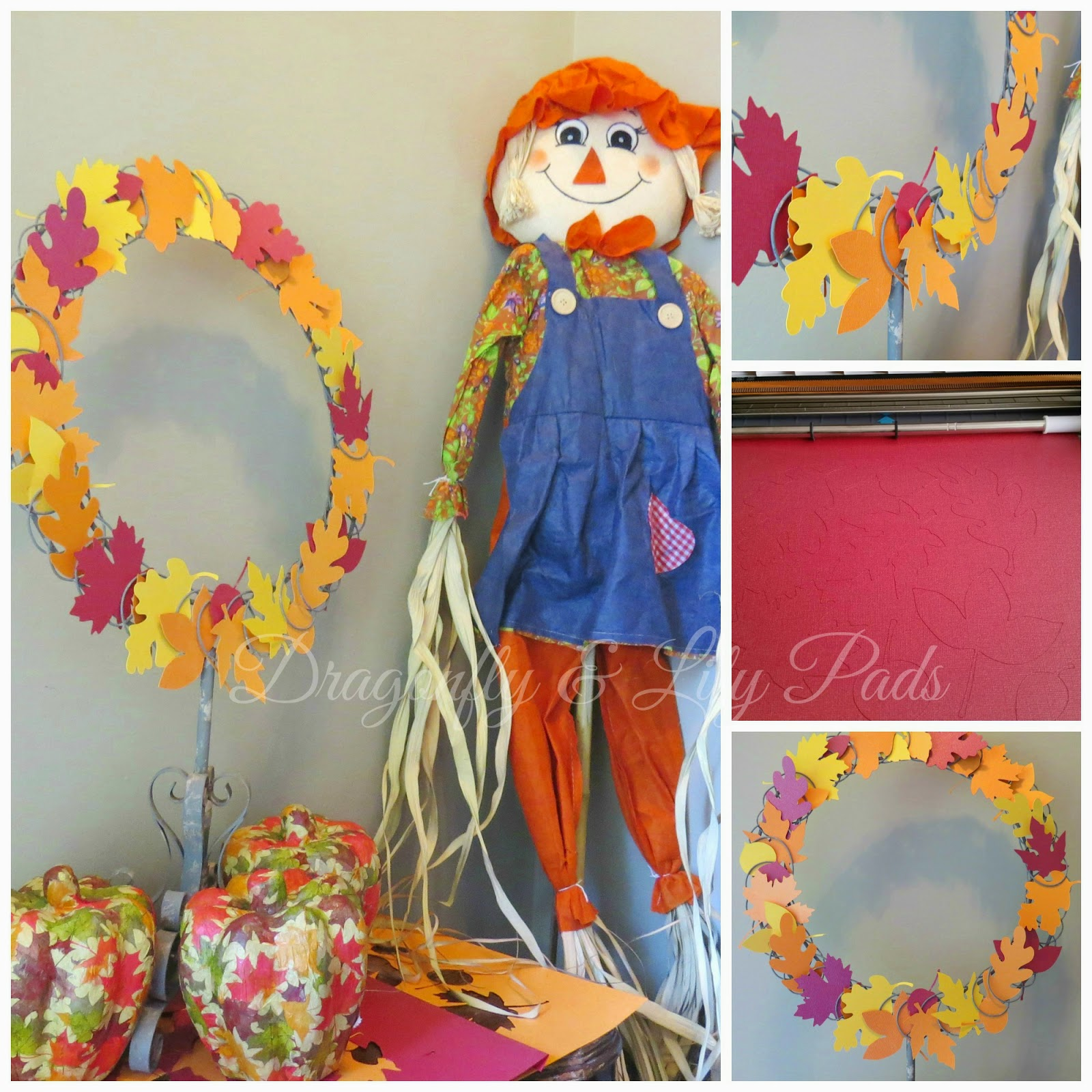 Collage, Silhouette Fall Wreath, Scarecrow, Silhouette Cameo machine cutting Red Bazzill card stock, close-up ppf Fall color leaf wreath