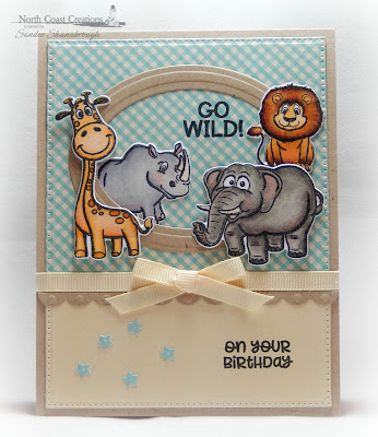 North Coast Creations Stamps & Dies: Go Wild, ODBD Custom Dies: Pierced Rectangles, Ovals, Bitty Borders, Sparkling Stars, Paper Collection: Sweet Shoppe