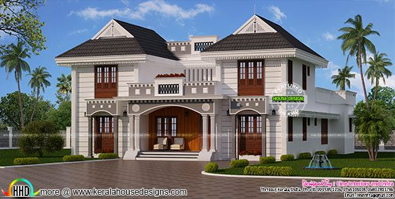 Beautiful decorative sloping roof house