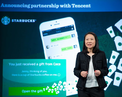 Source: Starbucks. The CEO of Starbucks China introduces the new gifting and payment services with Tencent.