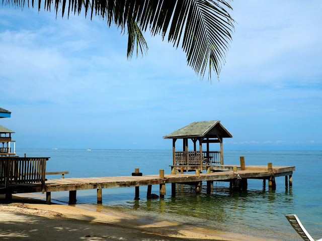 Wooden dock in the ocean on Roatan Island, Honduras