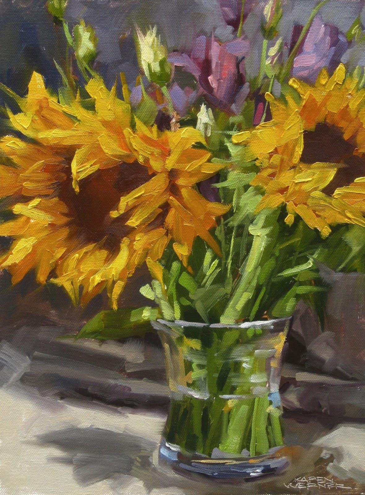 Karen Werner Fine Art Sunflowers Amp Violet An Oil
