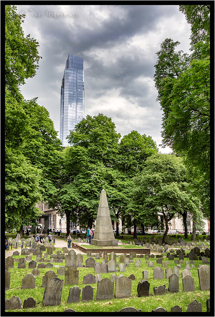 Obelisk at Granary Burying Grounds with the Millennium Tower