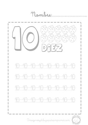 Caligrafía de los números del 1 al 10