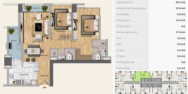 Mặt bằng căn hộ C-04 chung cư Mon Central