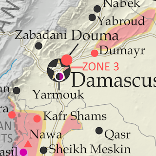 Map of Syrian Civil War (Syria control map): Fighting and territorial control in Syria in March 2018 (Free Syrian Army rebels, Kurdish YPG, Syrian Democratic Forces (SDF), Hayat Tahrir al-Sham (HTS / Al-Nusra Front), Islamic State (ISIS/ISIL), and others). Includes Russia-Turkey-Iran agreed de-escalation zones and US deconfliction zone, plus recent locations of conflict and territorial control changes, such as Afrin, the Eastern Ghouta rebel zone, and more. Colorblind accessible.