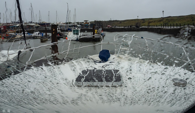Photo of wet and windy weather at Maryport Marina today (Friday)