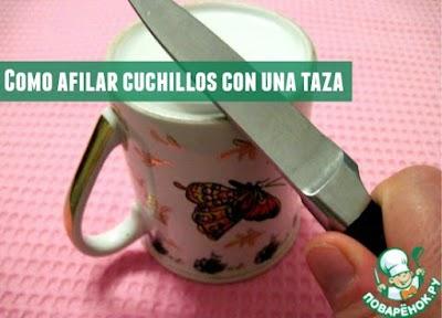 Como afilar cuchillos con una taza