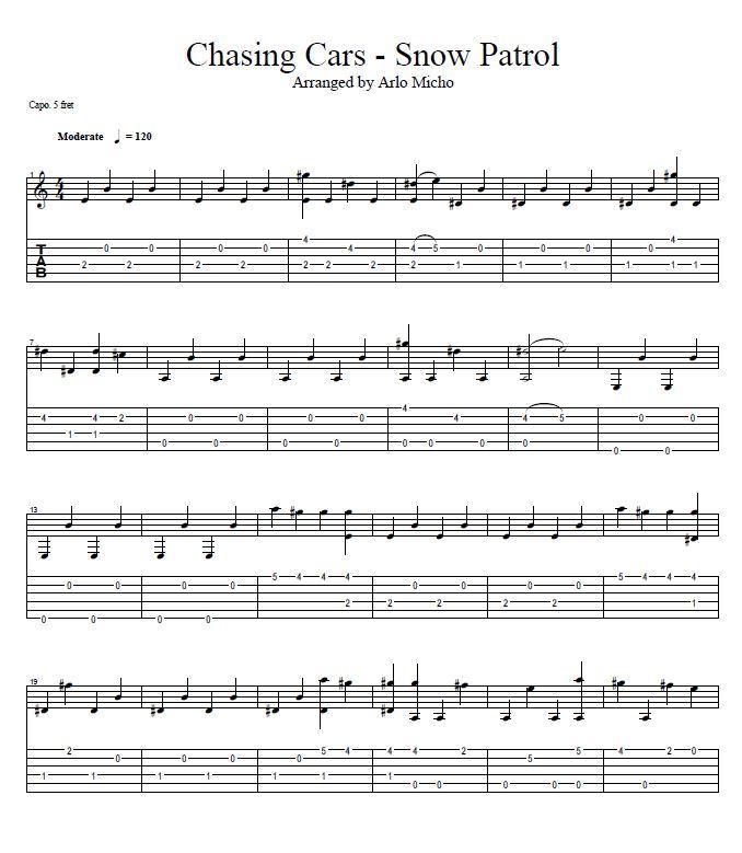 Chasing Cars - Snow Patrols Guitar Tabs | Arlo Micho Tabs