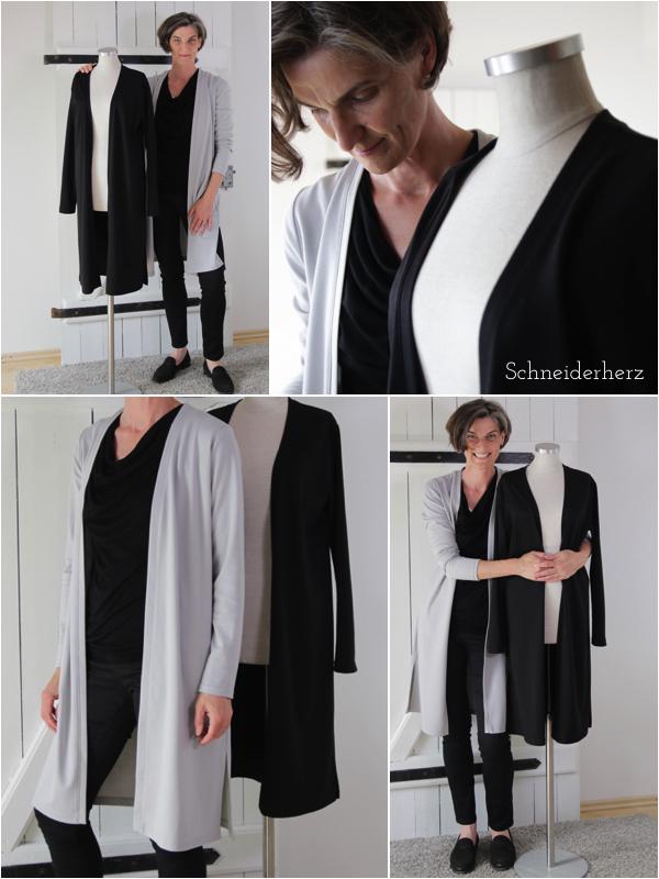 Selbstgenähte Mode- Jerseymantel puristisch