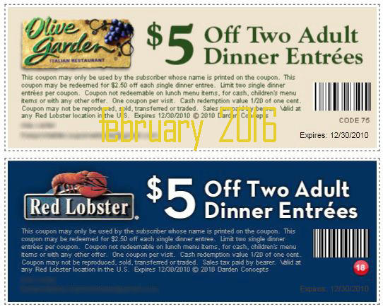 Join the Red Lobster Fresh Catch Club and receive a coupon for $5 off 2 adult dinner entrees. Valid not just on your birthday, but anytime after you receive your exclusive birthday coupon! More.