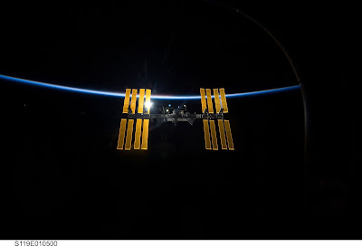 ISS Space Station flying over Ireland, image provided by NASA