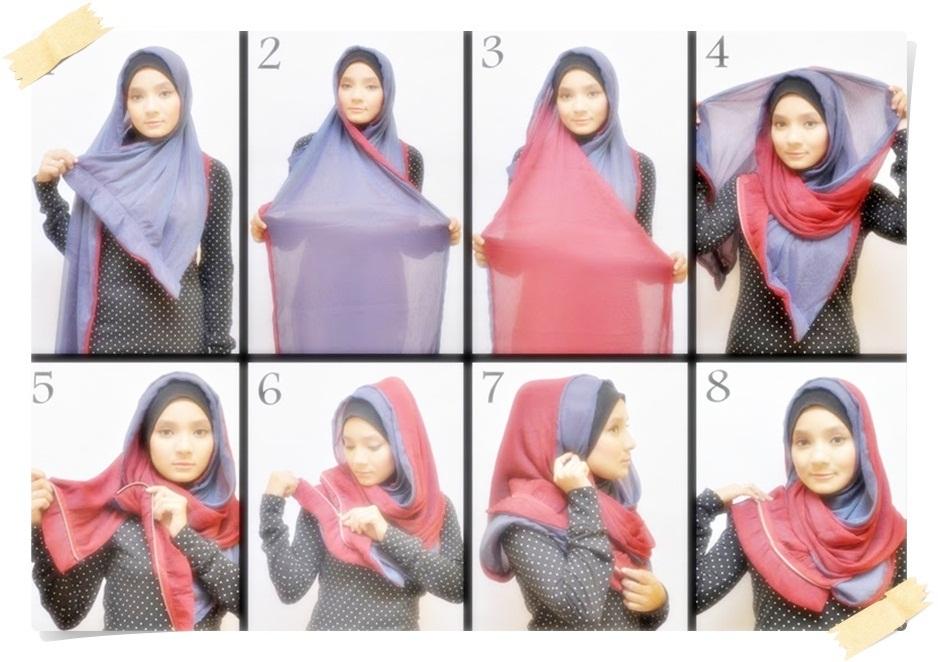 Tutorial Hijab Segi Empat Untuk Wajah Bulat Agar Terlihat Tirus Hijab Converse