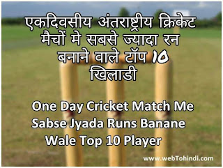 top 10 player who made the most runs in one day international cricket match