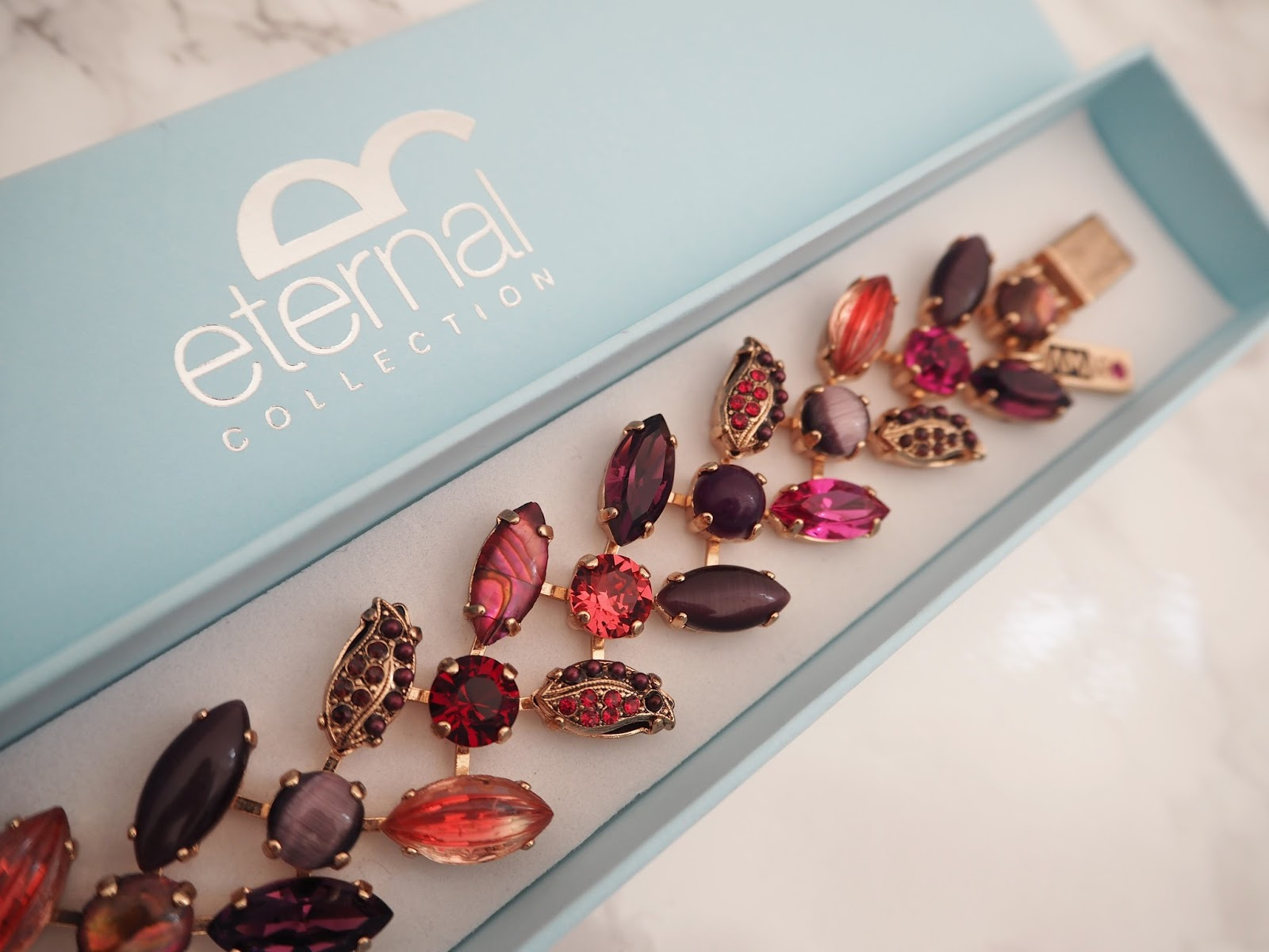 Eternal Collection rose-gold bracelet set with red, pink and purple gemstones