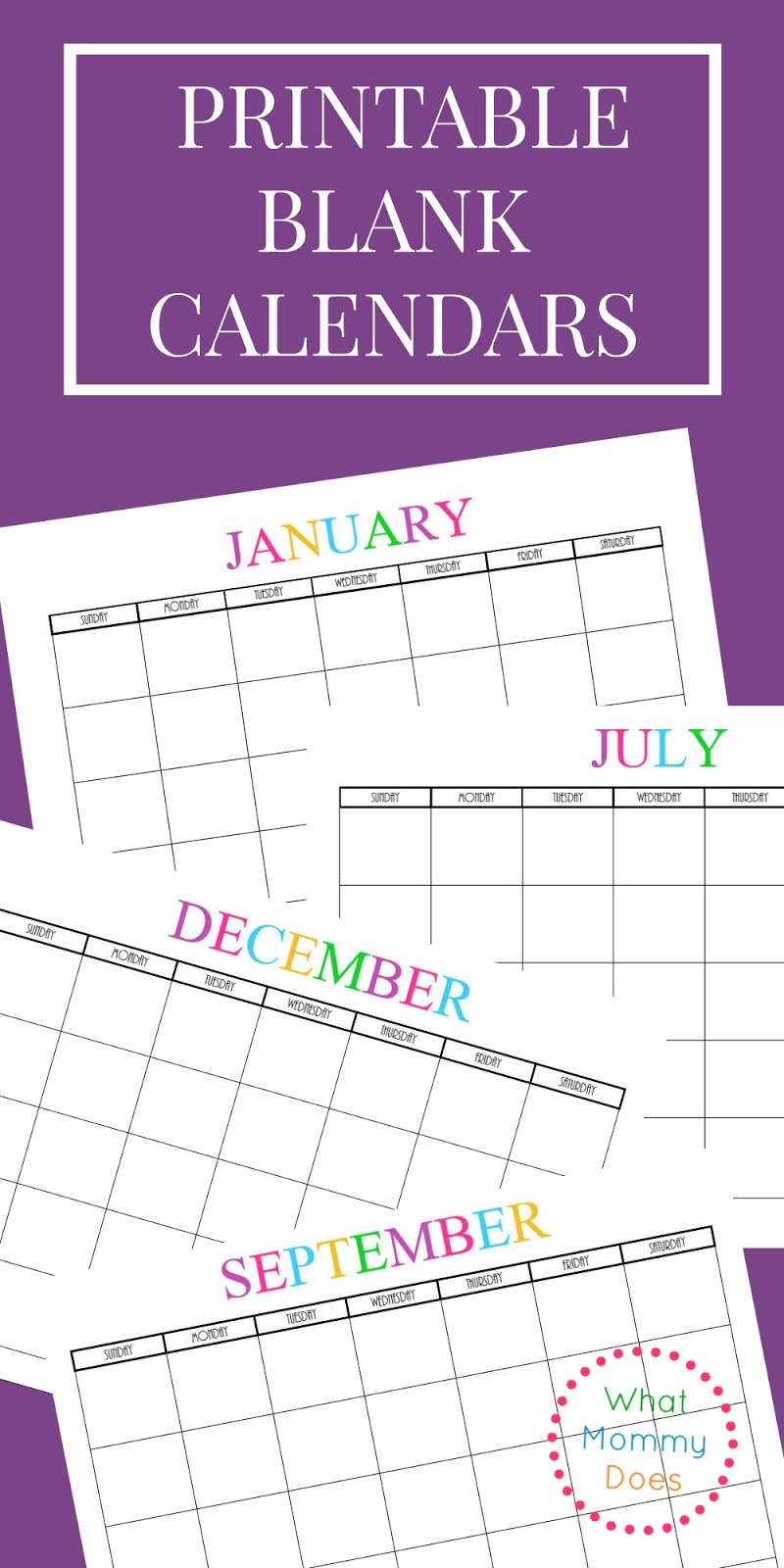Musings of an Average Mom: Free Printable Blank Calendars