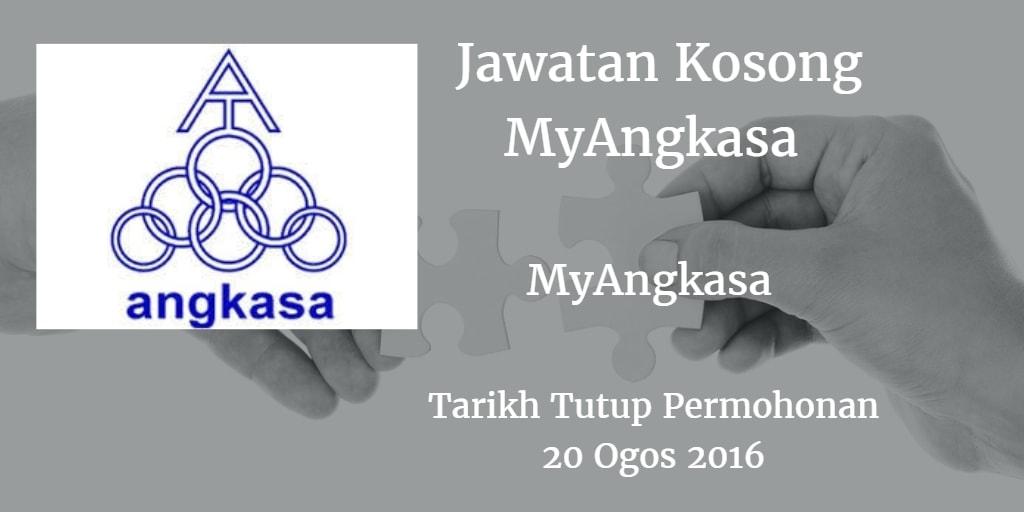 Jawatan Kosong MyAngkasa  20 Ogos 2016