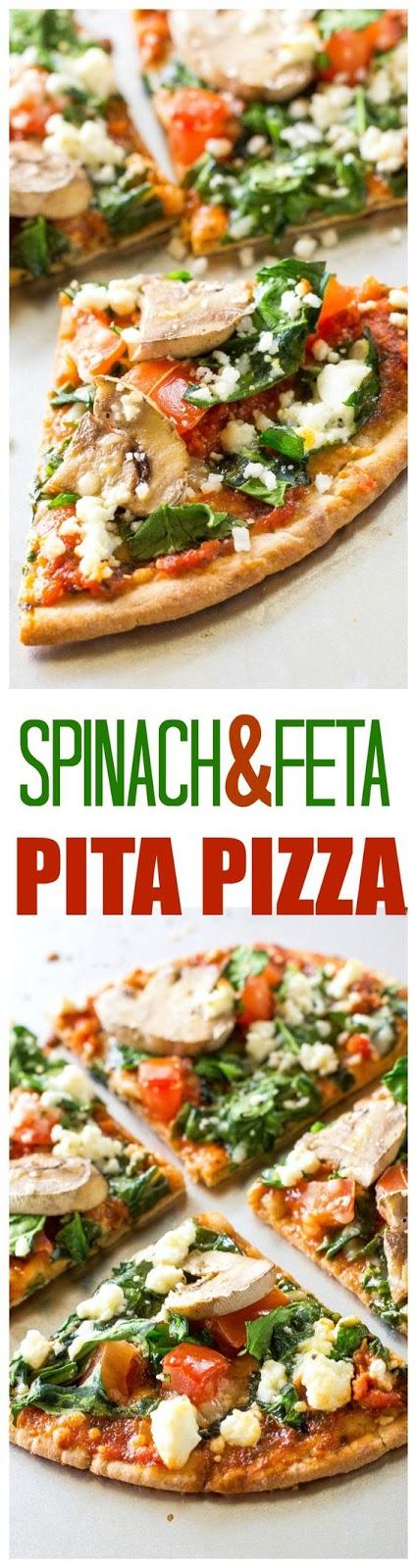 SPINACH AND FETA PITA PIZZA