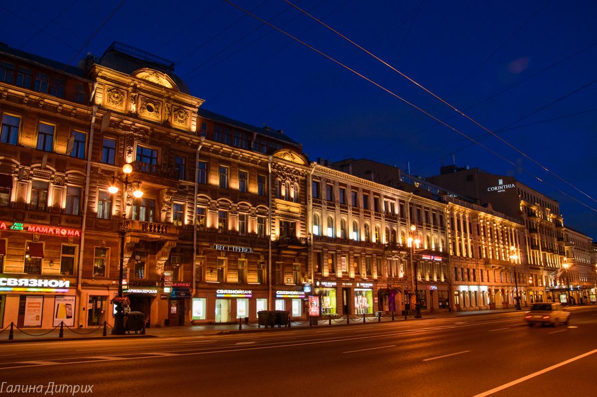 Невский ночью фото