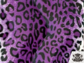 Velboa Faux / Fake Fur Leopard PURPLE BLACK WHITE Fabric By the Yard